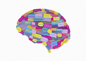 Lots of speech bubbles about different mental health issues forming human brain
