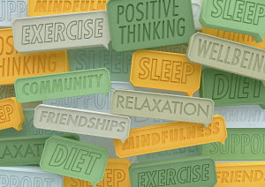 Close up of lots of positive healthy lifestyle speech bubbles