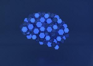 Hexagonal blocks of circuit board and mathematical formulae forming human brain