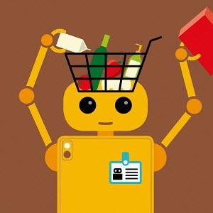 Robot filling shopping basket