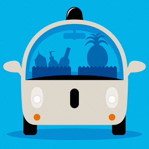 Driverless car delivering groceries