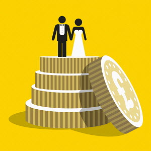 Pound coins as tiers of wedding cake