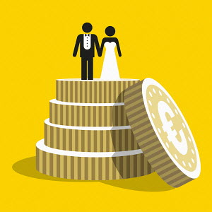Euro coins as tiers of wedding cake