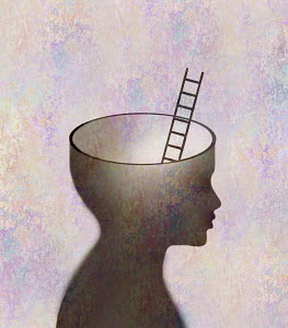 Ladder emerging out of child's head