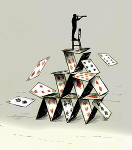 Man looking through telescope standing on top of collapsing house of cards