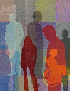 Overlapping silhouettes of different people