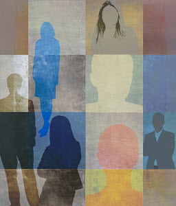 Silhouettes of different people over square pattern