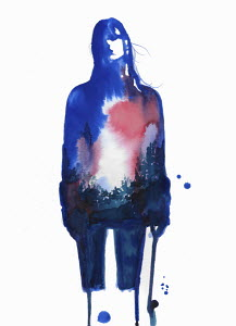 Blurry blue watercolour sketch of young woman