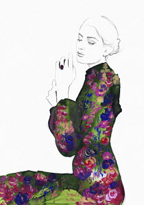 Fashion illustration of contemplative young woman wearing floral pattern dress