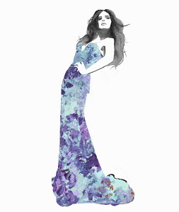 Fashion illustration of model posing in long tight evening gown