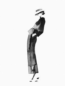 Watercolour sketch of retro fashion model