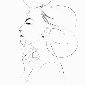 Pencil sketch of beautiful woman's profile