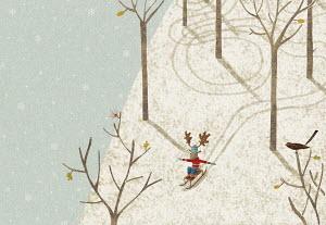 Reindeer tobogganing down snowy hill