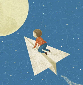 Small boy flying on paper airplane to the moon