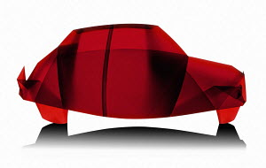 Red car made from translucent folded paper