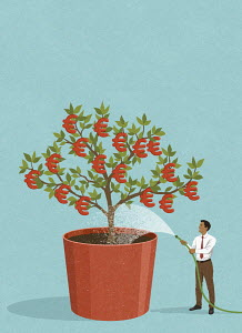 Happy businessman watering euro money tree