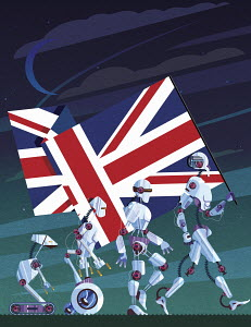 Evolution of robots carrying Union Jack flag