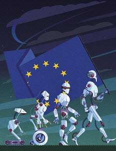 Evolution of robots carrying European Union flag