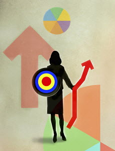 Businesswoman warrior holding target and graph as shield and spear