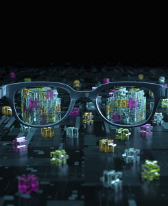 3D pieces of computer circuit board jigsaw through spectacles