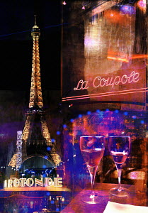 Eiffel Tower and café life in Paris at night