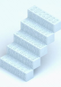 Business planning buzzwords staircase