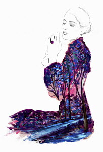 Fashion illustration of contemplative young woman wearing landscape pattern dress