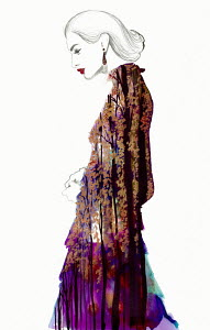 Fashion illustration of beautiful woman wearing ornate dress