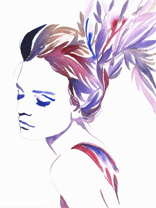 Fashion illustration of woman with multi coloured hair morphing into leaves