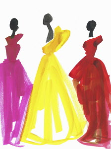 Fashion illustration of three models in evening gowns