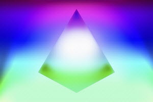 Pyramid and bright neon colour abstract