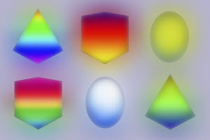 Neon three dimensional geometric shapes