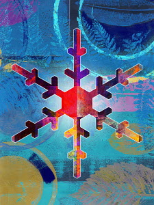 Colourful snowflake in abstract pattern