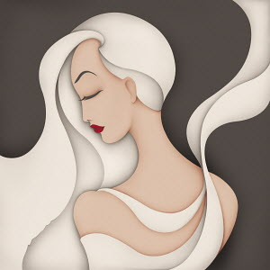 Fashion illustration of beautiful woman with long hair and flowing material