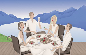 Elegant friends eating canapes on terrace overlooking lake