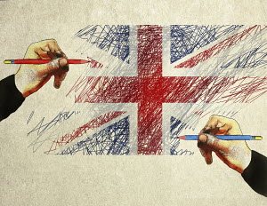 Blue and red pencils drawing Union Jack flag