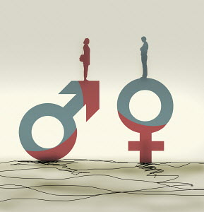 Woman standing on male symbol facing man on female symbol