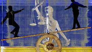 Businessmen balancing on seesaw in front of Lady Justice