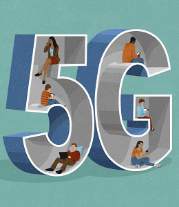 People using 5G technology on different digital devices