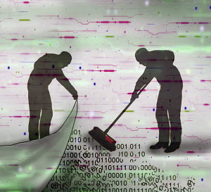 Man sweeping data under the carpet