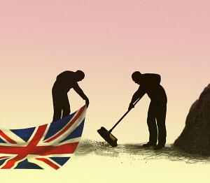 Man sweeping dirt under Union Jack carpet
