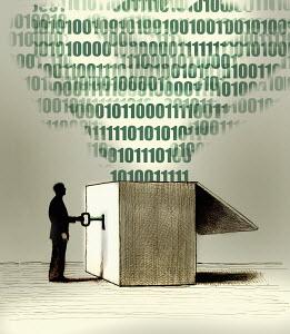 Businessman unlocking data from box