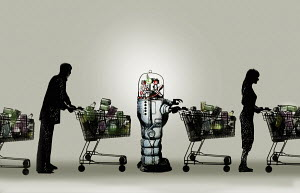 Robot with shopping trolley in supermarket queue