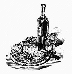 Black and white scraperboard engraving of wine and appetizers