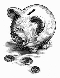 Black and white scraperboard engraving of piggy bank looking at British coins