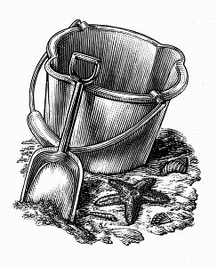 Black and white scraperboard engraving of seaside bucket and spade