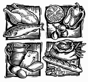 Black and white scraperboard engraving of food groups for healthy balanced diet