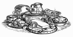 Black and white scraperboard engraving of range of homemade food