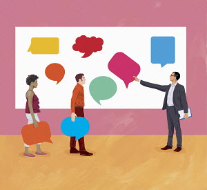 Business people exchanging opinions with different speech bubbles