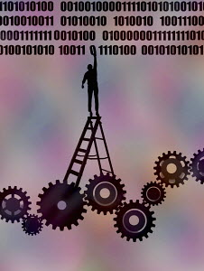 Man standing on ladder on top of cogs to reach binary code